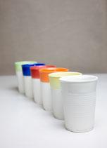 NoPlastics Kaffeebecher // Porzellan, farbig glasiert