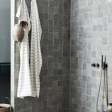 Duschtuch, 100x200cm, beige mit anthraziten Streifen, RJ