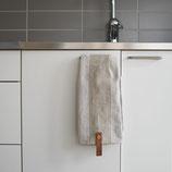 Handtuch Designprodukt Storefactory, mit Lederbendel, beige gestreift RJ