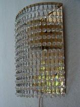 Wandlampe, 70er Jahre, Messing, Kristall