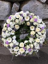 Trauerkranz rund weiß /lila