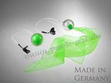 """Pack-Poi """"flag"""" - transparenter Ball mit Schweif aus Jongliertuch in grün (schwarzlichtaktiv)"""