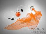 """Pack-Poi """"flag"""" - transparenter Ball mit Schweif aus Jongliertuch in orange"""