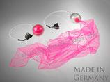 """Pack-Poi """"flag"""" - transparenter Ball mit Schweif aus Jongliertuch in pink (schwarzlichtaktiv)"""