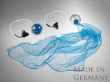 """Pack-Poi """"flag"""" - transparenter Ball mit Schweif aus Jongliertuch in blau"""