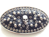 Sendra Boots Buckle Gürtelschnalle Totenkopf massiv Metall/Leder der Eyecatcher