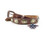 Stars & Stripes HB 30 Hutband Hutbänder Leder Braun Concho Nieten Country Western Cowboy