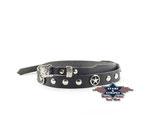 Stars & Stripes HB 33 Hutband Hutbänder Leder Schwarz Concho Nieten Country Western Cowboy