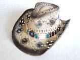 Cowboyhut mit Hutband,Kinnband,formbarer Krempe Westernhut Strohhut Country