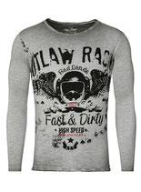 Key Largo Herren T-Shirt longsleeve RACING rundhals langarm MLS00039 silver grau