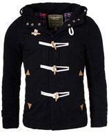 Young & Rich Herren Jacke Übergangsjacke Winter-Jacke Kurzmantel warm gefütterte mit abnehmbare Kapuze JK-414 schwarz