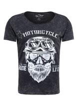 Key Largo Herren T-Shirt rundhals Vintage BEARDED BIKER round kurzarm MT00203 schwarz