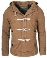 Young & Rich Herren Jacke Übergangsjacke Winter-Jacke Kurzmantel warm gefütterte mit abnehmbare Kapuze JK-414 khaki braun