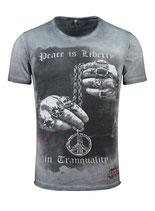 Key Largo Herren T-Shirt rundhals Vintage AWAKE round kurzarm MT00290 dunkelgrau  anthra