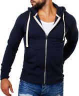 Young & Rich  Sweatjacke Sweatshirt Pullover Weste Jacke mit Kapuze 903 dunkelblau navy