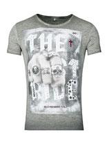 Key Largo Herren T-Shirt rundhals Vintage LAST RIDE round kurzarm MT00179 silver grau