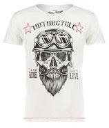 Key Largo Herren T-Shirt rundhals Vintage BEARDED BIKER round kurzarm MT00203 weiß