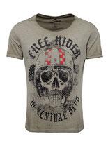 Key Largo Herren T-Shirt rundhals Vintage MOUSTACHE Rider round kurzarm MT00206 grün mil.green