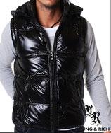 Young & Rich Weste Jacke ohne Ärmel Glanzoptik 8998 Unifarbe mit Kapuze