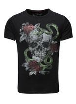 Key Largo Herren T-Shirt rundhals Vintage Skull SNAKE kurzarm MT00158 schwarz