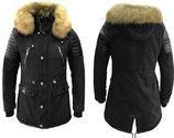 X-FEEL Winter Jacke Mantel Kurzmantel mit Kapuze Trenchcoat 88828 PARDO schwarz
