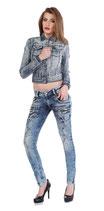 Cipo & Baxx Damen Jeans Röhren Slim Fit Style WB200 used blau blue verwaschen