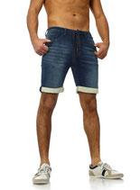 Sublevel Herren Jeans-Shorts Vintage Sweat-shorts Caprijeans destroyed Bermuda dunkelblau