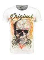 Key Largo Herren T-Shirt rundhals Vintage TRIANGLE round skull Totenkopf kurzarm MT00187 weiß offwhite