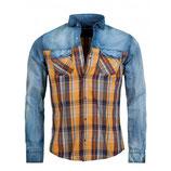 Young & Rich Herren Jeans-Hemd Karomuster Freizeit-Hemd Vintage 6118 blau Langarm gelb kariert