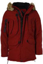 Rego & Regino Winter Jacke Mantel Kurzmantel mit Kapuze Mantel Trenchcoat Parka DAERON rot