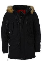 Rego & Regino Winter Jacke Mantel Kurzmantel mit Kapuze Mantel Trenchcoat Parka DAERON schwarz