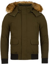 Young & Rich Winter-Jacke Bomber Blouson Kurzmantel warm gefütterte Jacke mit Kapuze JK-448 grün