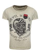 Key Largo Herren T-Shirt rundhals Vintage PLAYER Rider round kurzarm MT00186 grün mil.green