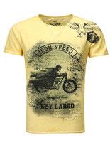 Key Largo Herren T-Shirt rundhals Vintage IRON SPEED kurzarm MT00118 gelb