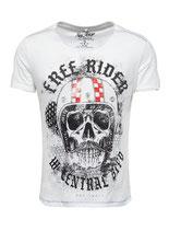 Key Largo Herren T-Shirt rundhals Vintage MOUSTACHE Rider round kurzarm MT00206 weiß offwhite