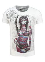 Key Largo Herren T-Shirt rundhals Vintage SQUAW round kurzarm MT00217 offwhite weiß