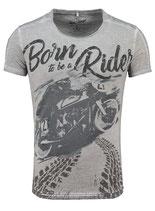 Key Largo Herren T-Shirt rundhals Vintage BORN Rider round kurzarm MT00190 grau silver
