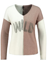 Key Largo Damen T-Shirt Pullover V-Neck langarm Oberteil PART WLS00199 taupe