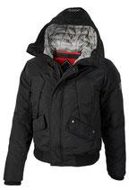 Rego & Regino Winter Jacke Mantel Kurzmantel mit Kapuze Trenchcoat Parka DUNCAN schwarz