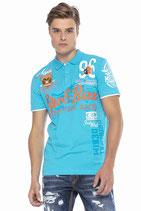 Cipo & Baxx Herren Jungen Party T-Shirt Polo Shirt CT604 kurzarm dunkelblau türkis