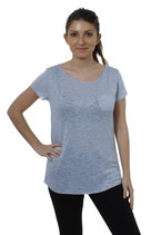 Key Largo Damen T-Shirt Top Oberteil Tunika DUBLIN WT00113 kurzarm light-blue