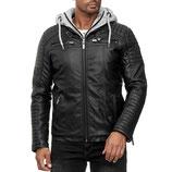 Redbridge  Übergangs-Jacke Biker 2in1 Kunstleder M6013H mit Kapuze schwarz-grau