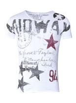 Key Largo Herren T-Shirt  Vintage MIDWAY V-Neck kurzarm MT00188 weiß