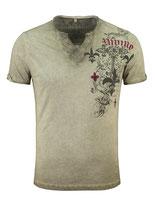 Key Largo Herren T-Shirt rundhals Vintage KNIGHT kurzarm MT00287 mil. Style grün khaki