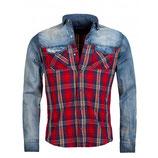 Young & Rich Herren Jeans-Hemd Karomuster Freizeit-Hemd Vintage blau 6118 Langarm rot kariert