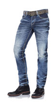 Cipo & Baxx Herren Jeans Regular Fit Style CD328 destroyed-used blau verwaschen