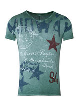 Key Largo Herren T-Shirt  Vintage MIDWAY V-Neck kurzarm MT00188 bottle green grün
