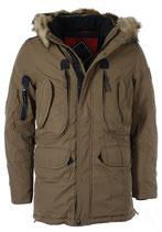 Rego & Regino Winter Jacke Mantel Kurzmantel mit Kapuze Mantel Trenchcoat Parka DAERON khaki