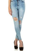 Daysie Damen Jeans Hose distressed 512 destroyed used verwaschen Women Röhrenjeans hellblau light-blue