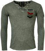 Key Largo Herren T-Shirt Longsleeve GUN Militär Style MLS00020 Vintage mil green